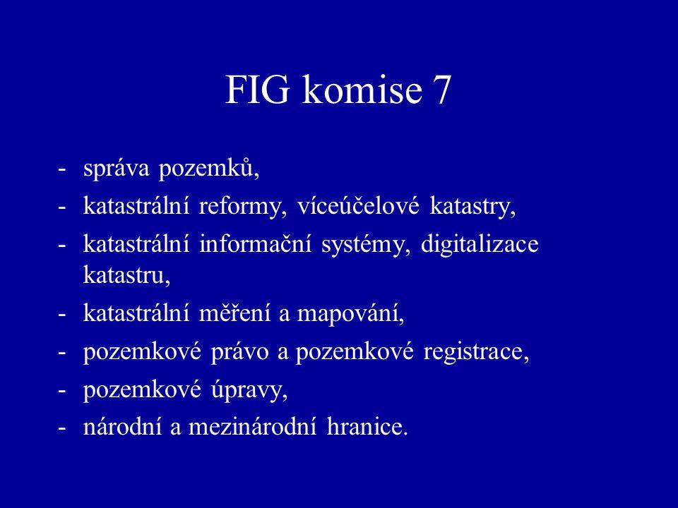FIG komise 7 -správa pozemků, -katastrální reformy, víceúčelové katastry, -katastrální informační systémy, digitalizace katastru, -katastrální měření a mapování, -pozemkové právo a pozemkové registrace, -pozemkové úpravy, -národní a mezinárodní hranice.