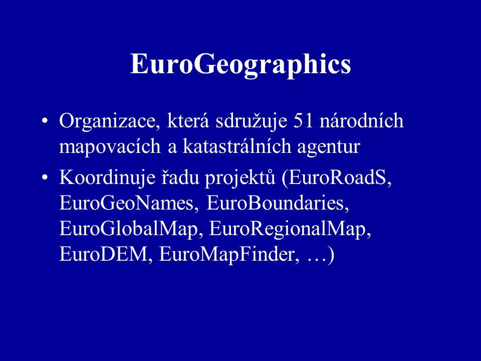 EuroGeographics Organizace, která sdružuje 51 národních mapovacích a katastrálních agentur Koordinuje řadu projektů (EuroRoadS, EuroGeoNames, EuroBoundaries, EuroGlobalMap, EuroRegionalMap, EuroDEM, EuroMapFinder, …)