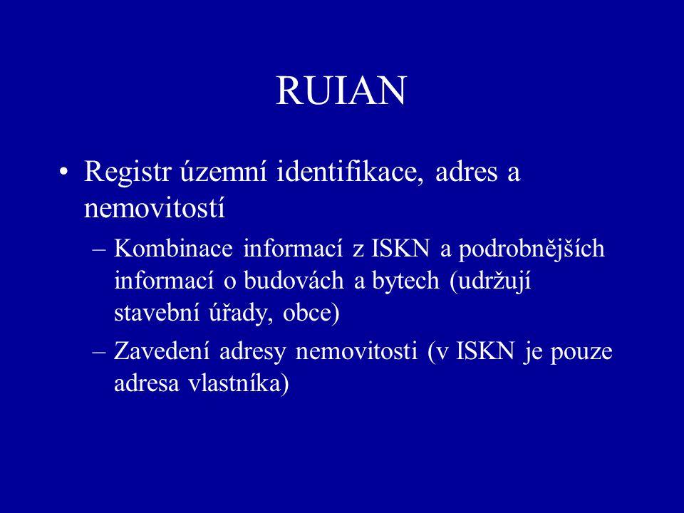 RUIAN Registr územní identifikace, adres a nemovitostí –Kombinace informací z ISKN a podrobnějších informací o budovách a bytech (udržují stavební úřady, obce) –Zavedení adresy nemovitosti (v ISKN je pouze adresa vlastníka)