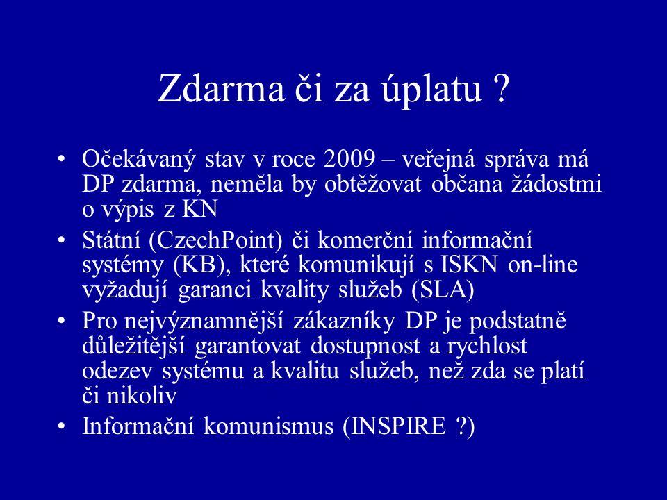 Zdarma či za úplatu ? Očekávaný stav v roce 2009 – veřejná správa má DP zdarma, neměla by obtěžovat občana žádostmi o výpis z KN Státní (CzechPoint) č