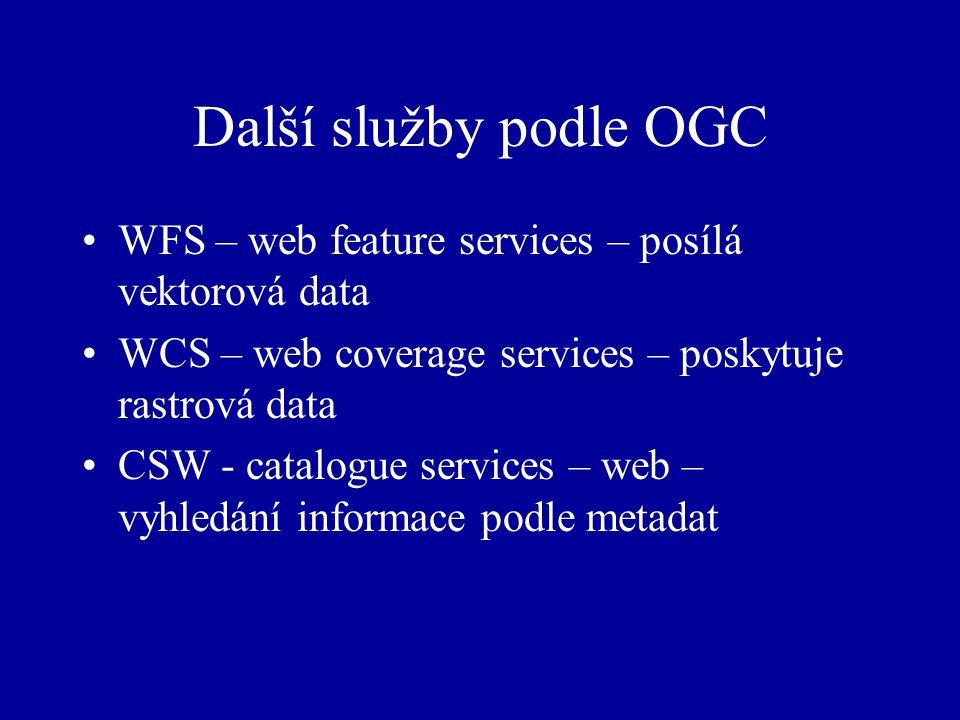 Další služby podle OGC WFS – web feature services – posílá vektorová data WCS – web coverage services – poskytuje rastrová data CSW - catalogue services – web – vyhledání informace podle metadat