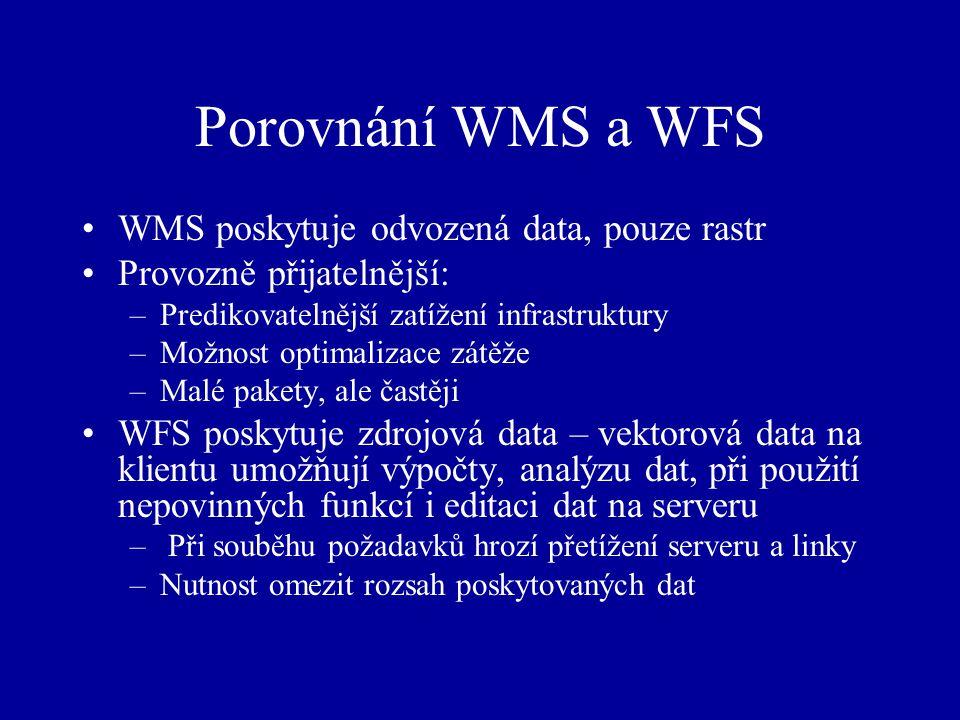 Porovnání WMS a WFS WMS poskytuje odvozená data, pouze rastr Provozně přijatelnější: –Predikovatelnější zatížení infrastruktury –Možnost optimalizace zátěže –Malé pakety, ale častěji WFS poskytuje zdrojová data – vektorová data na klientu umožňují výpočty, analýzu dat, při použití nepovinných funkcí i editaci dat na serveru – Při souběhu požadavků hrozí přetížení serveru a linky –Nutnost omezit rozsah poskytovaných dat