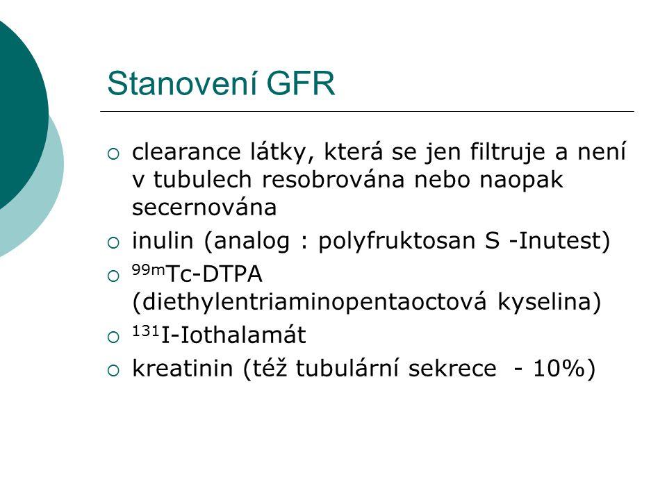 Stanovení GFR  clearance látky, která se jen filtruje a není v tubulech resobrována nebo naopak secernována  inulin (analog : polyfruktosan S -Inute