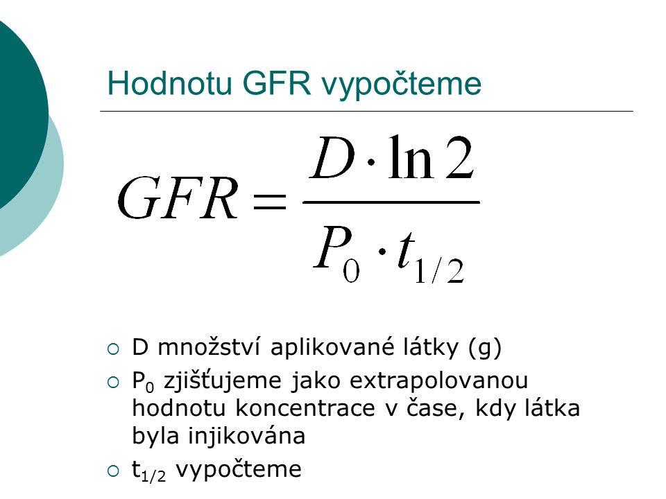 Hodnotu GFR vypočteme  D množství aplikované látky (g)  P 0 zjišťujeme jako extrapolovanou hodnotu koncentrace v čase, kdy látka byla injikována  t 1/2 vypočteme