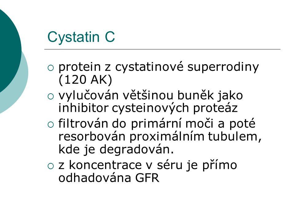 Cystatin C  protein z cystatinové superrodiny (120 AK)  vylučován většinou buněk jako inhibitor cysteinových proteáz  filtrován do primární moči a