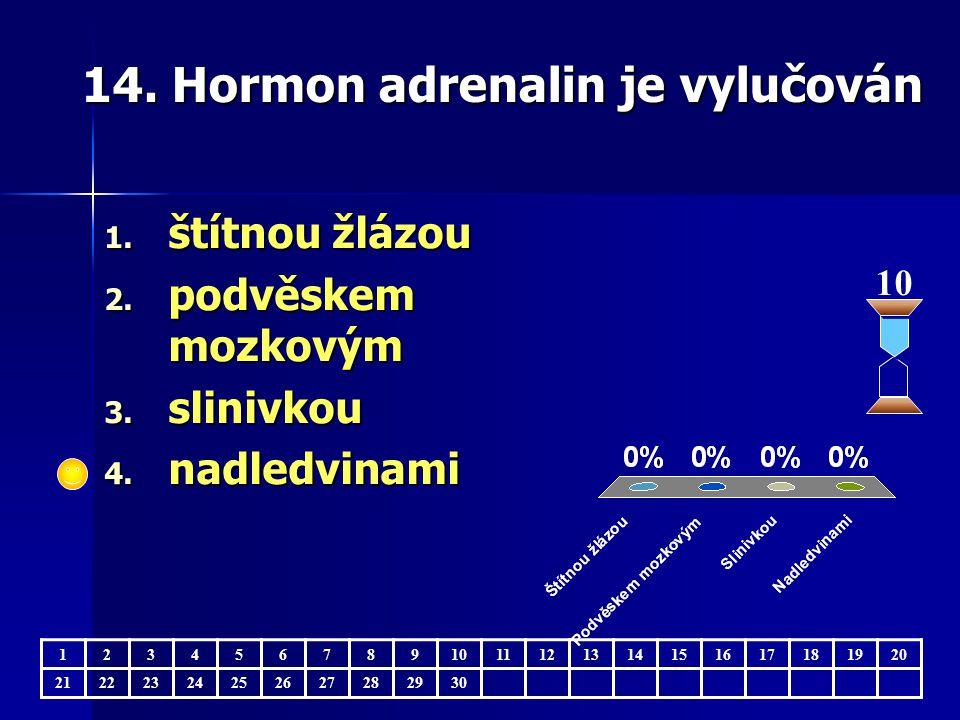 14. Hormon adrenalin je vylučován 10 123456789 11121314151617181920 21222324252627282930 1.