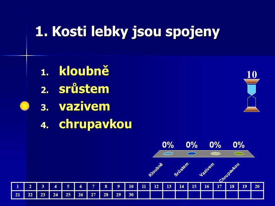 1. Kosti lebky jsou spojeny 1. kloubně 2. srůstem 3.