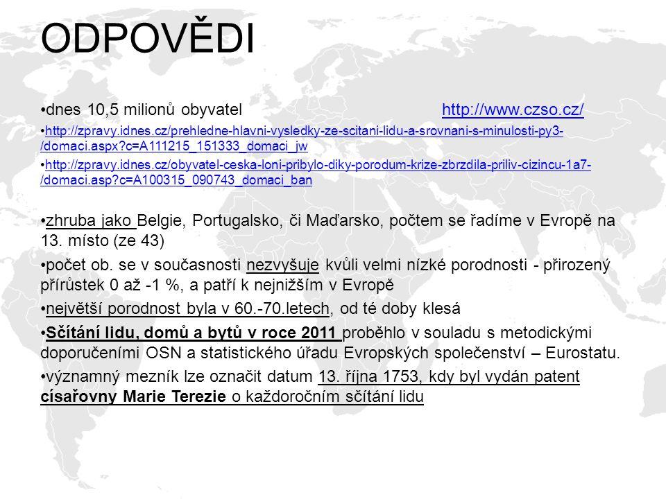 ODPOVĚDI dnes 10,5 milionů obyvatel http://www.czso.cz/http://www.czso.cz/ http://zpravy.idnes.cz/prehledne-hlavni-vysledky-ze-scitani-lidu-a-srovnani
