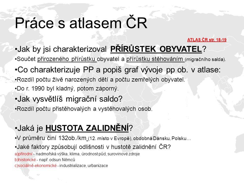 Práce s atlasem ČR ATLAS ČR str. 18-19 Jak by jsi charakterizoval PŘÍRŮSTEK OBYVATEL? Součet přirozeného přírůstku obyvatel a přírůstku stěhováním (mi