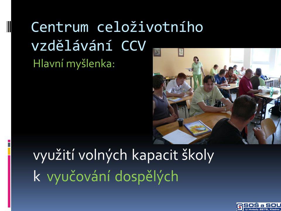 Centrum celoživotního vzdělávání CCV Hlavní myšlenka: využití volných kapacit školy k vyučování dospělých