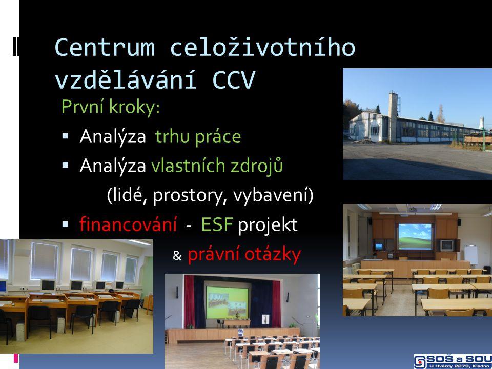 Centrum celoživotního vzdělávání CCV První kroky:  Analýza trhu práce  Analýza vlastních zdrojů (lidé, prostory, vybavení)  financování - ESF projekt  & právní otázky
