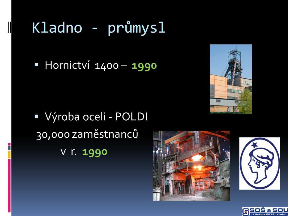 Kladno - průmysl  Hornictví 1400 – 1990  Výroba oceli - POLDI 30,000 zaměstnanců v r. 1990