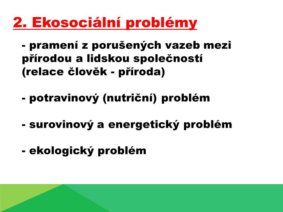 - pramení z porušených vazeb mezi přírodou a lidskou společností (relace člověk - příroda) - potravinový (nutriční) problém - surovinový a energetický