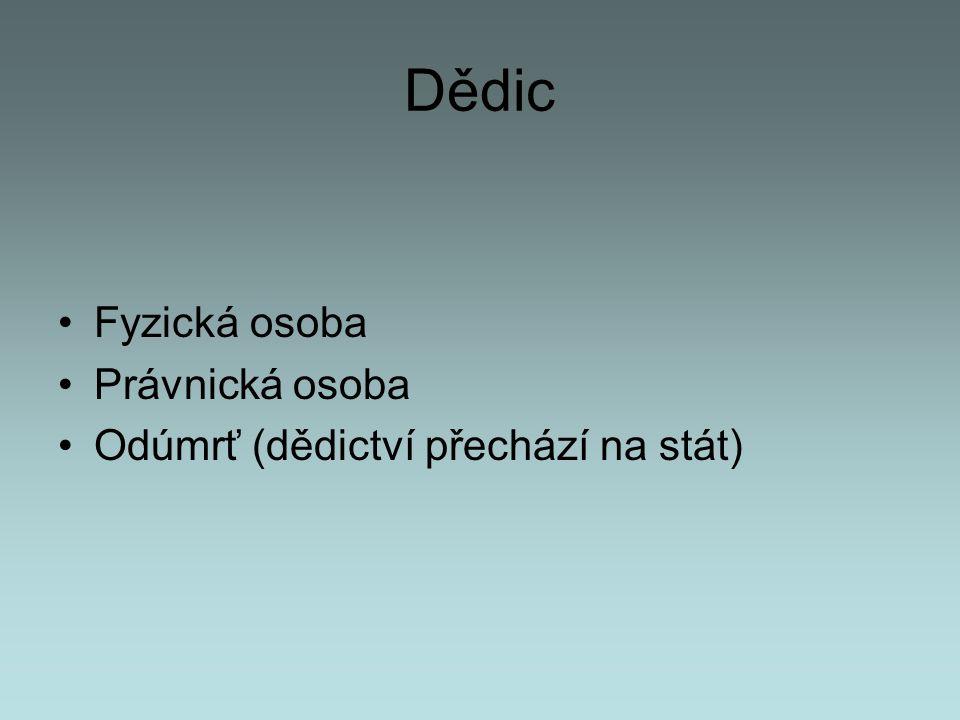 Dědické skupiny 1.skupina - manžel/ka, ev. registrovaný partner/ka a děti 2.