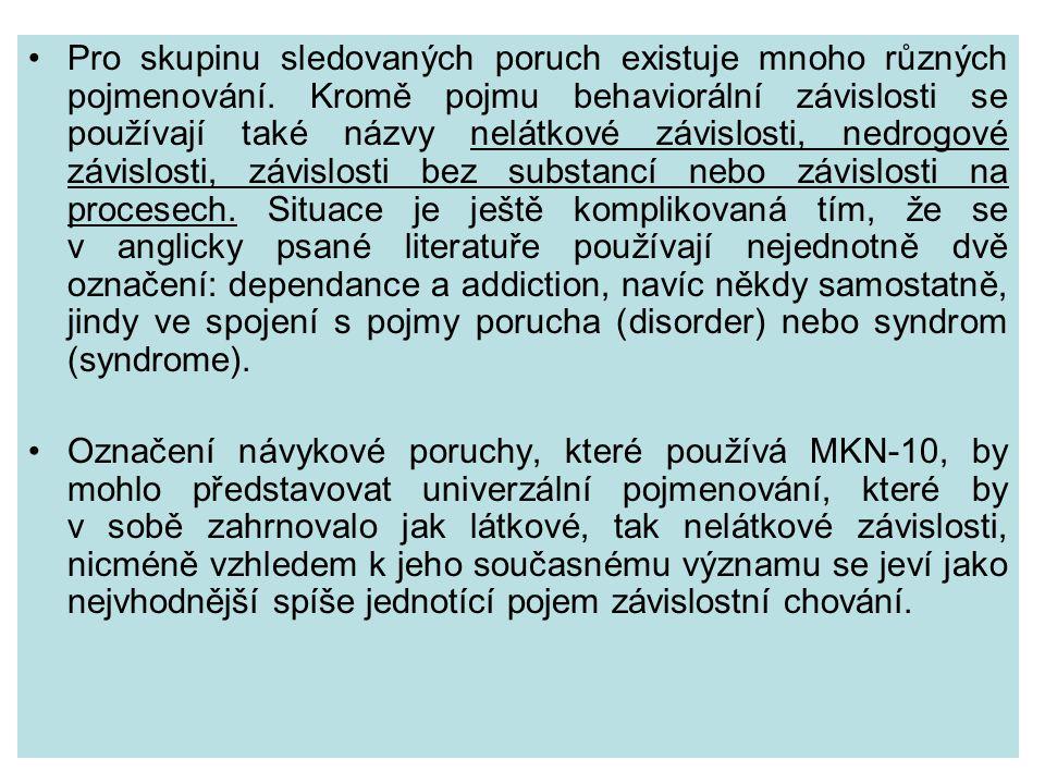 Pro skupinu sledovaných poruch existuje mnoho různých pojmenování.