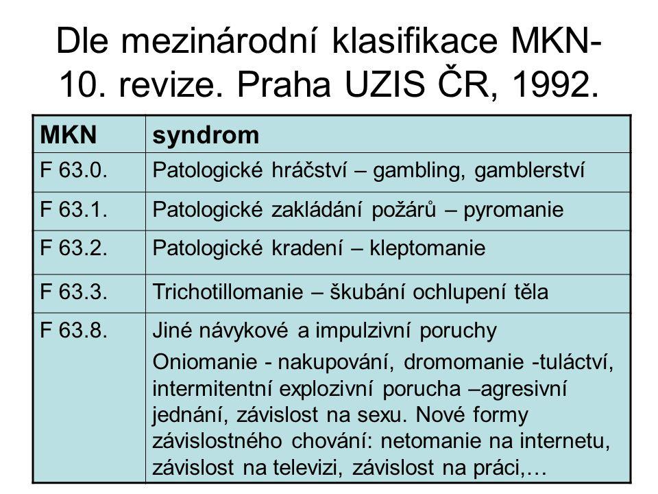Dle mezinárodní klasifikace MKN- 10.revize. Praha UZIS ČR, 1992.
