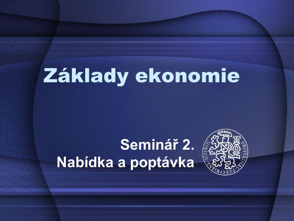 Základy ekonomie Seminář 2. Nabídka a poptávka