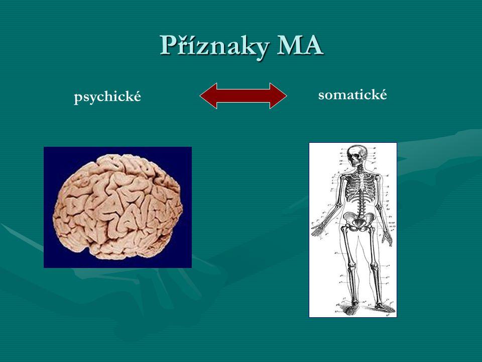 Psychické příznaky MA NesoustředěnostNesoustředěnost PodrážděnostPodrážděnost DepreseDeprese NeurózyNeurózy PlačtivostPlačtivost VýbušnostVýbušnost