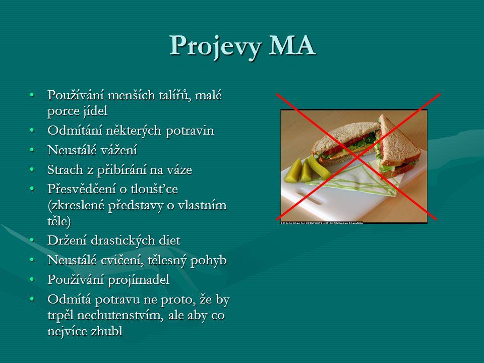 Projevy MA Používání menších talířů, malé porce jídelPoužívání menších talířů, malé porce jídel Odmítání některých potravinOdmítání některých potravin Neustálé váženíNeustálé vážení Strach z přibírání na vázeStrach z přibírání na váze Přesvědčení o tloušťce (zkreslené představy o vlastním těle)Přesvědčení o tloušťce (zkreslené představy o vlastním těle) Držení drastických dietDržení drastických diet Neustálé cvičení, tělesný pohybNeustálé cvičení, tělesný pohyb Používání projímadelPoužívání projímadel Odmítá potravu ne proto, že by trpěl nechutenstvím, ale aby co nejvíce zhublOdmítá potravu ne proto, že by trpěl nechutenstvím, ale aby co nejvíce zhubl