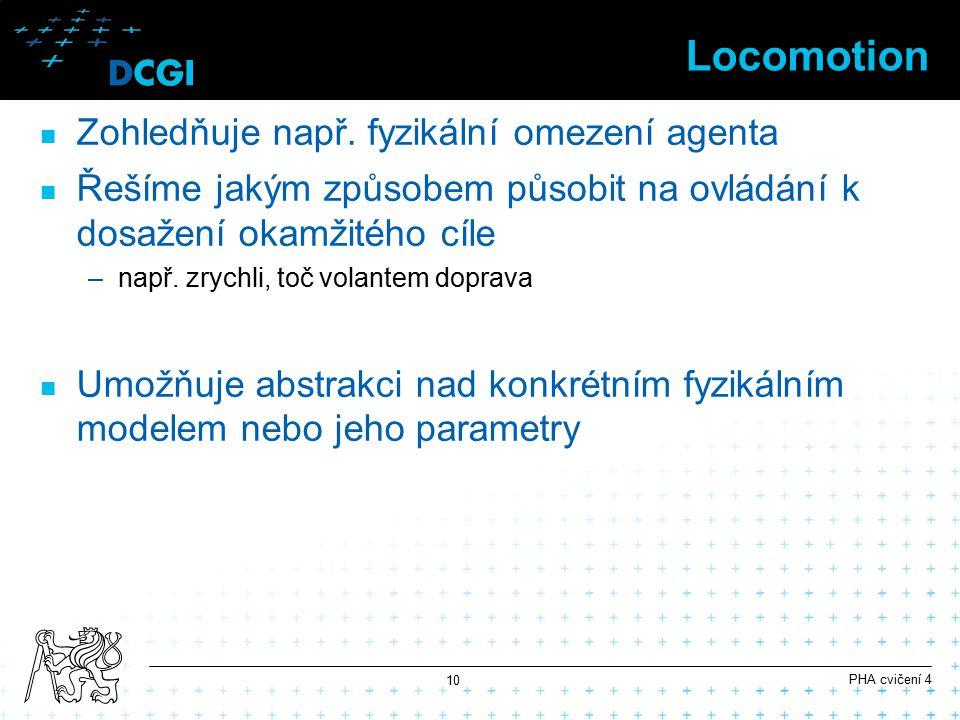 Locomotion Zohledňuje např. fyzikální omezení agenta Řešíme jakým způsobem působit na ovládání k dosažení okamžitého cíle –např. zrychli, toč volantem
