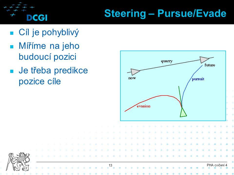 Steering – Pursue/Evade Cíl je pohyblivý Míříme na jeho budoucí pozici Je třeba predikce pozice cíle PHA cvičení 4 13