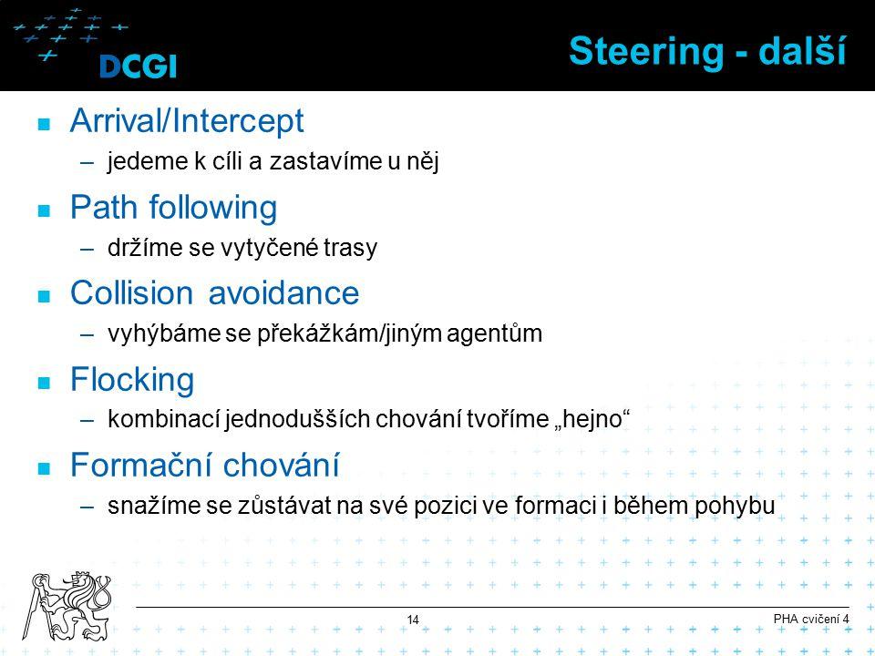 """Steering - další Arrival/Intercept –jedeme k cíli a zastavíme u něj Path following –držíme se vytyčené trasy Collision avoidance –vyhýbáme se překážkám/jiným agentům Flocking –kombinací jednodušších chování tvoříme """"hejno Formační chování –snažíme se zůstávat na své pozici ve formaci i během pohybu PHA cvičení 4 14"""