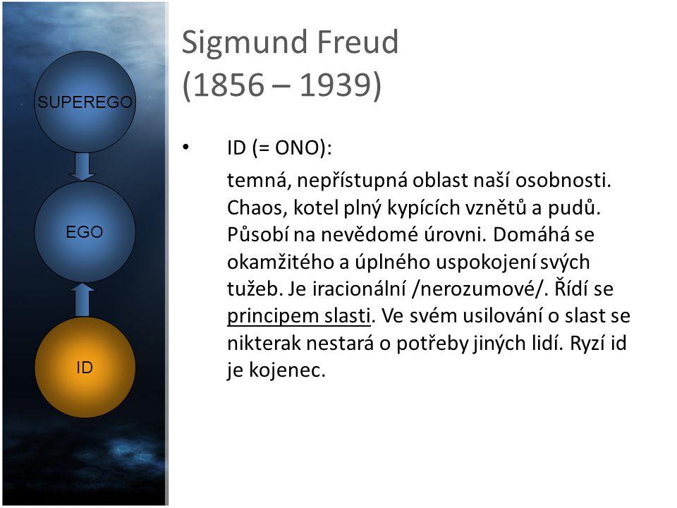 Sigmund Freud (1856 – 1939) ID (= ONO): temná, nepřístupná oblast naší osobnosti. Chaos, kotel plný kypících vznětů a pudů. Působí na nevědomé úrovni.