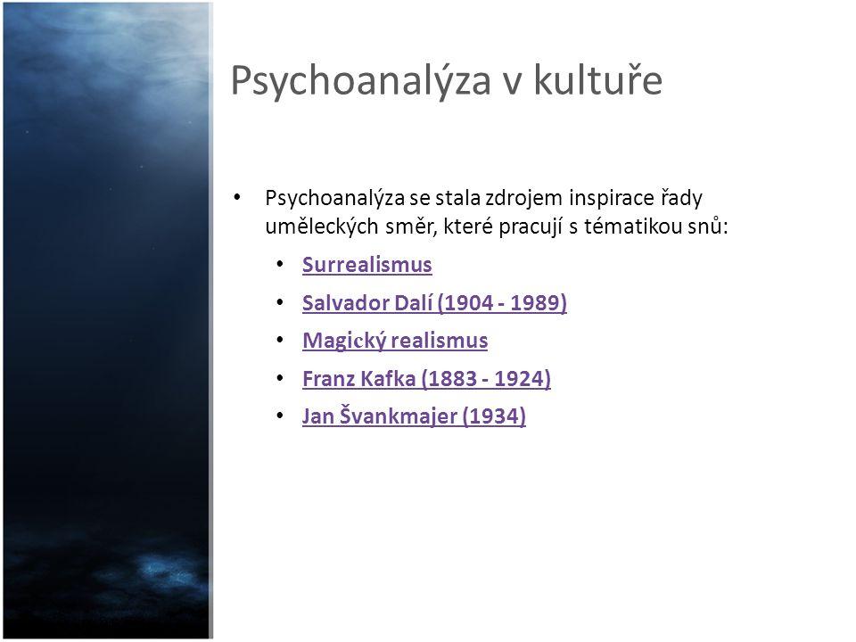 Psychoanalýza v kultuře Psychoanalýza se stala zdrojem inspirace řady uměleckých směr, které pracují s tématikou snů: Surrealismus Salvador Dalí (1904