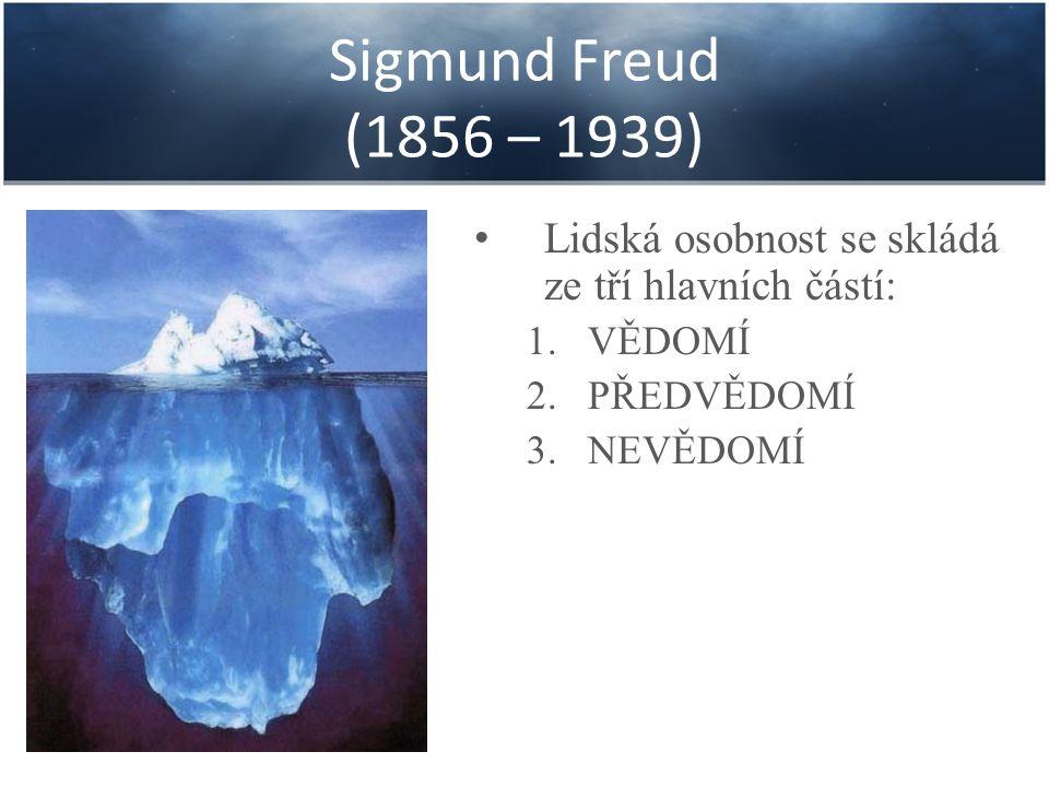 Sigmund Freud (1856 – 1939) VĚDOMÍ: je část našeho vnitřního prostoru, která je v centru pozornosti a je přirovnávána k části ledovce nad hladinou.