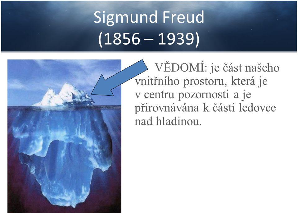 Sigmund Freud (1856 – 1939) PŘEDVĚDOMÍ: je oblast, která sice není aktuálně v centru naší pozornosti, ale leží nepříliš hluboko pod hladinou a můžeme si z ní kdykoliv vybavit některé informace.