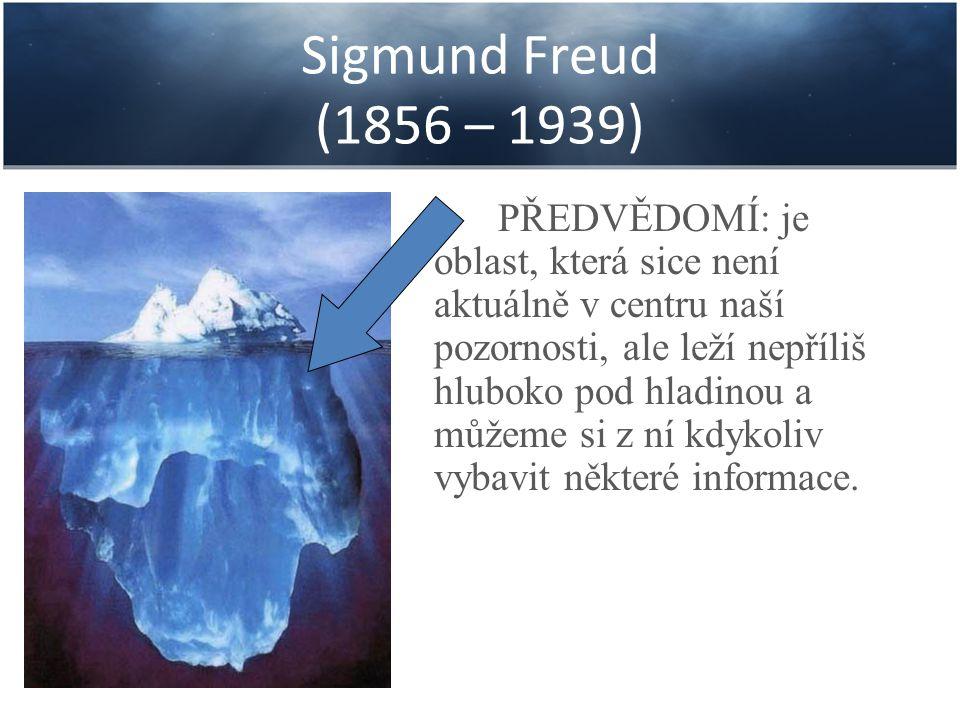 Sigmund Freud (1856 – 1939) PŘEDVĚDOMÍ: je oblast, která sice není aktuálně v centru naší pozornosti, ale leží nepříliš hluboko pod hladinou a můžeme