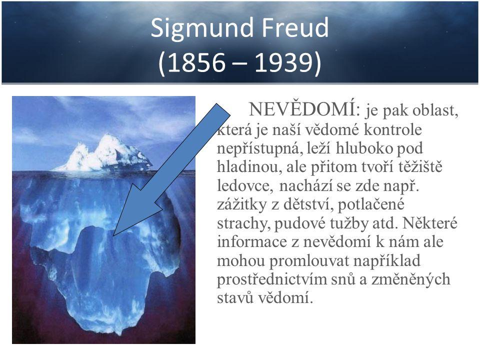 Sigmund Freud (1856 – 1939) NEVĚDOMÍ: je pak oblast, která je naší vědomé kontrole nepřístupná, leží hluboko pod hladinou, ale přitom tvoří těžiště le