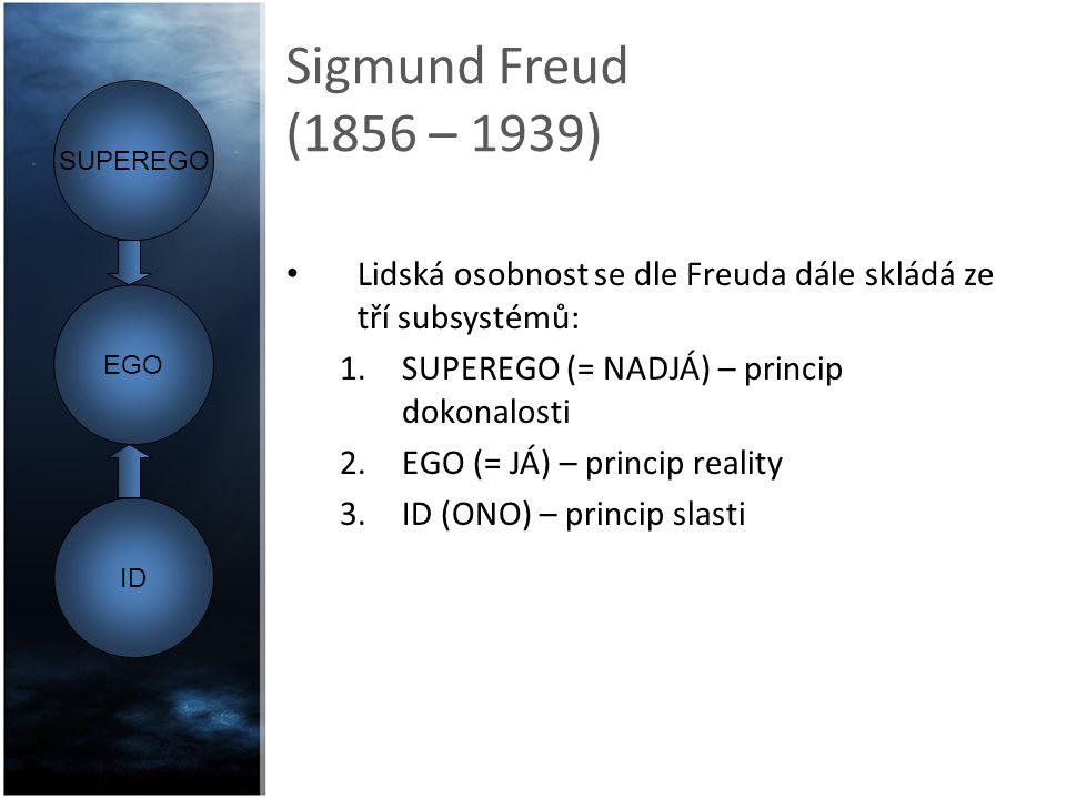 Sigmund Freud (1856 – 1939) SUPEREGO (= NADJÁ): obsahuje omezení a zákazy ukládané dítěti v raném a mladém věku rodiči a pro ně významnými dospělými.