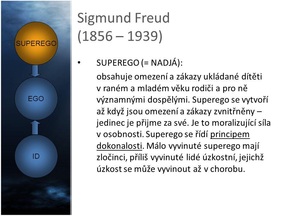 Sigmund Freud (1856 – 1939) EGO (= JÁ): stanovuje povahu a vhodnou dobu uplatnění požadavků id.