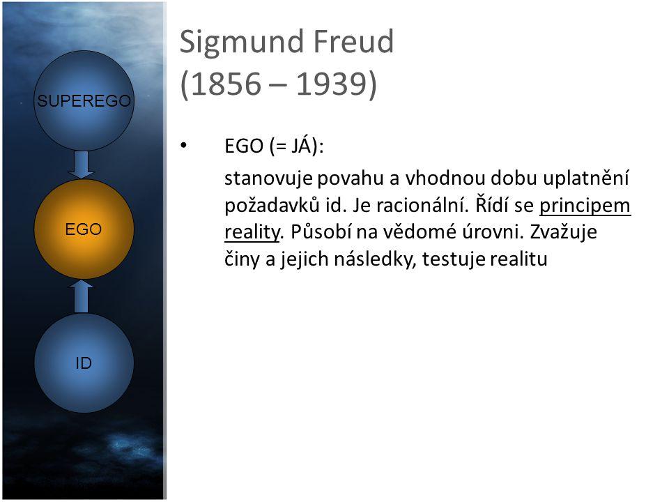 Sigmund Freud (1856 – 1939) EGO (= JÁ): stanovuje povahu a vhodnou dobu uplatnění požadavků id. Je racionální. Řídí se principem reality. Působí na vě