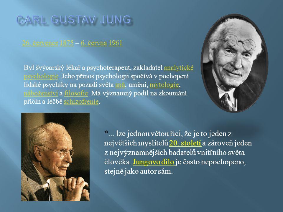 26. července26. července 1875 – 6. června 196118756. června1961 Byl švýcarský lékař a psychoterapeut, zakladatel analytické psychologie. Jeho přínos p