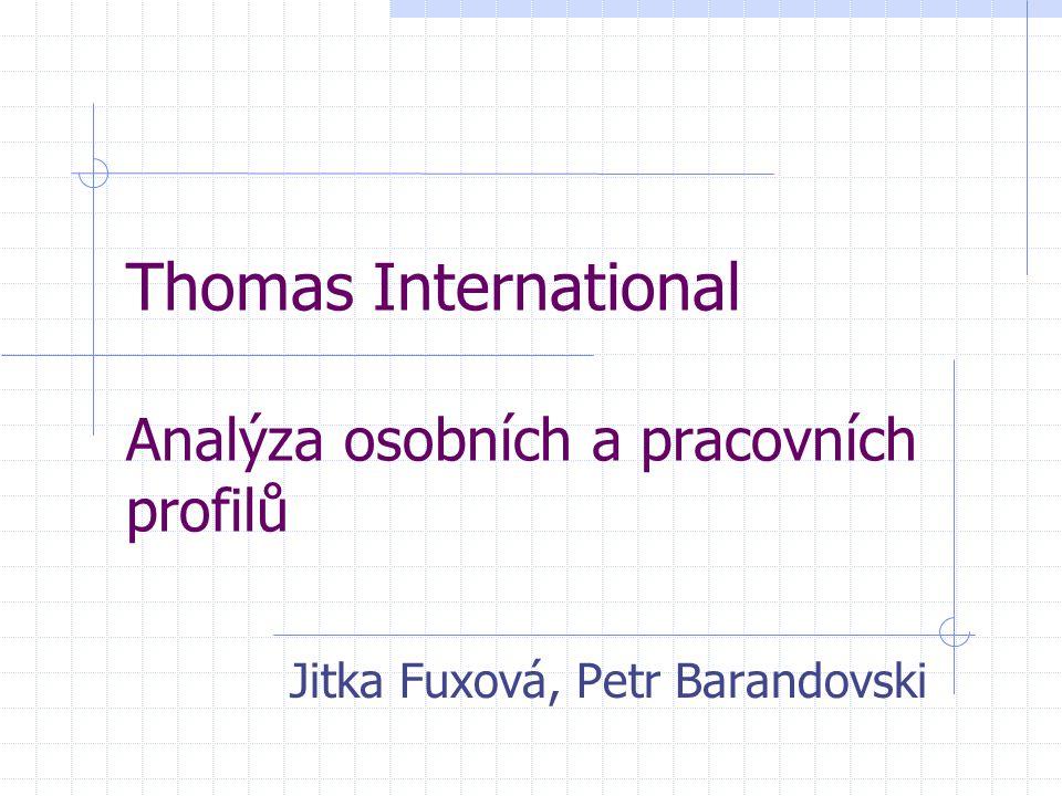 Thomas International Analýza osobních a pracovních profilů Jitka Fuxová, Petr Barandovski