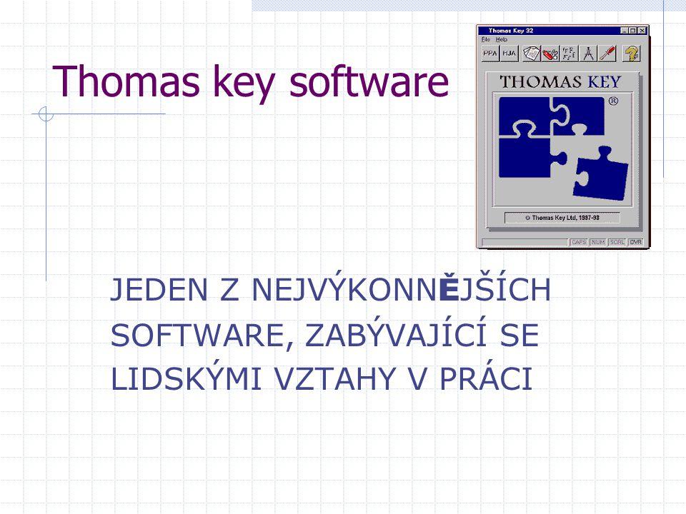 Thomas key software JEDEN Z NEJVÝKONN Ě JŠÍCH SOFTWARE, ZABÝVAJÍCÍ SE LIDSKÝMI VZTAHY V PRÁCI