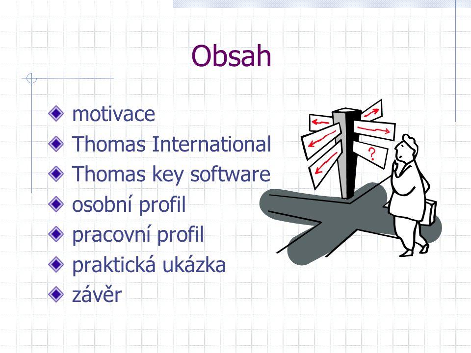 Obsah motivace Thomas International Thomas key software osobní profil pracovní profil praktická ukázka závěr
