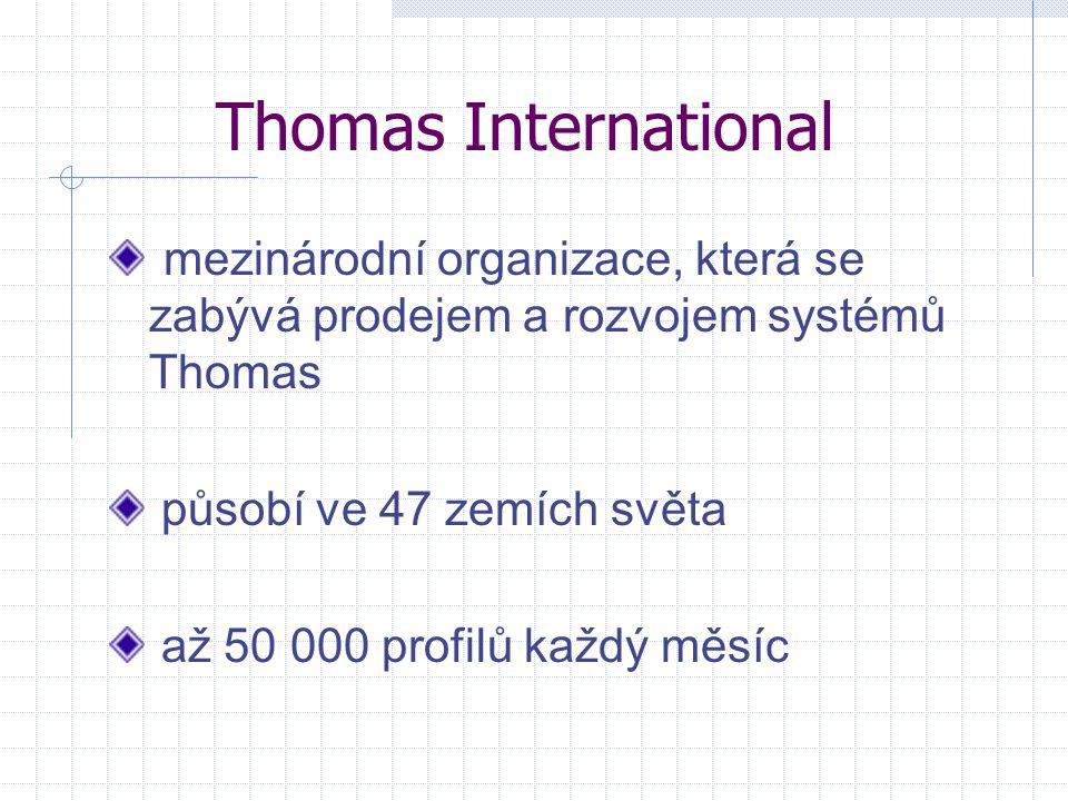 Thomas International mezinárodní organizace, která se zabývá prodejem a rozvojem systémů Thomas působí ve 47 zemích světa až 50 000 profilů každý měsí