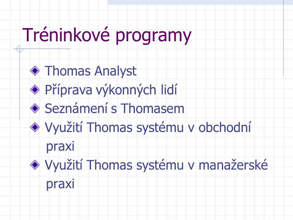 Tréninkové programy Thomas Analyst Příprava výkonných lidí Seznámení s Thomasem Využití Thomas systému v obchodní praxi Využití Thomas systému v manaž