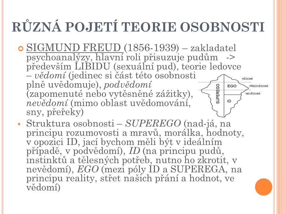 RŮZNÁ POJETÍ TEORIE OSOBNOSTI SIGMUND FREUD (1856-1939 ) – zakladatel psychoanalýzy, hlavní roli přisuzuje pudům -> především LIBIDU (sexuální pud), teorie ledovce – vědomí (jedinec si část této osobnosti plně uvědomuje), podvědomí (zapomenuté nebo vytěsněné zážitky), nevědomí (mimo oblast uvědomování, sny, přeřeky)  Struktura osobnosti – SUPEREGO (nad-já, na principu rozumovosti a mravů, morálka, hodnoty, v opozici ID, jací bychom měli být v ideálním případě, v podvědomí), ID (na principu pudů, instinktů a tělesných potřeb, nutno ho zkrotit, v nevědomí), EGO (mezi póly ID a SUPEREGA, na principu reality, střet našich přání a hodnot, ve vědomí)