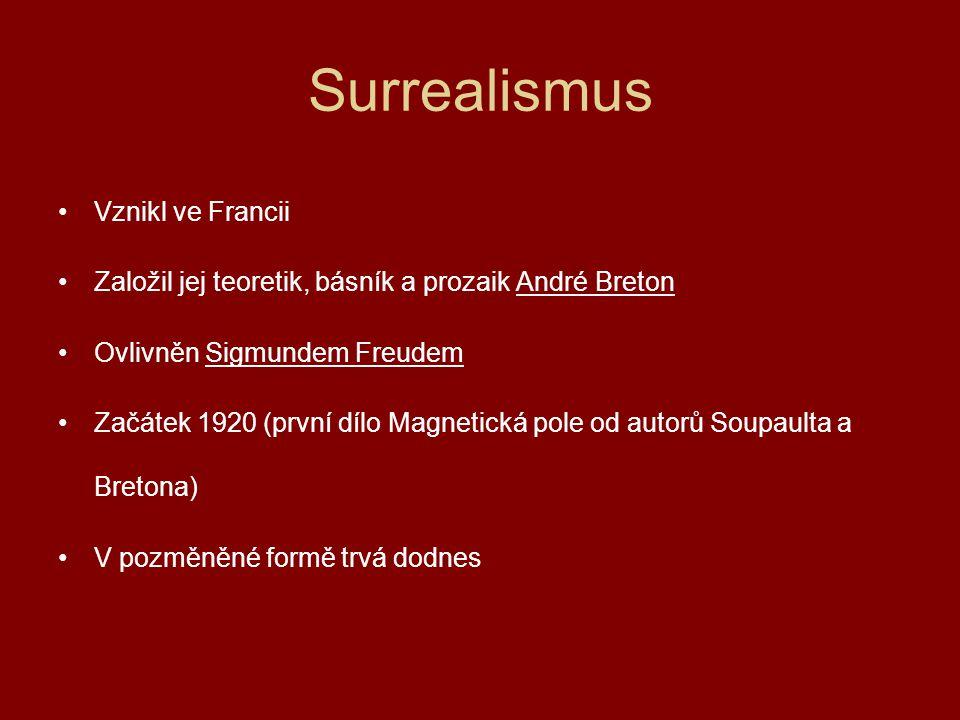 Surrealismus Vznikl ve Francii Založil jej teoretik, básník a prozaik André Breton Ovlivněn Sigmundem Freudem Začátek 1920 (první dílo Magnetická pole