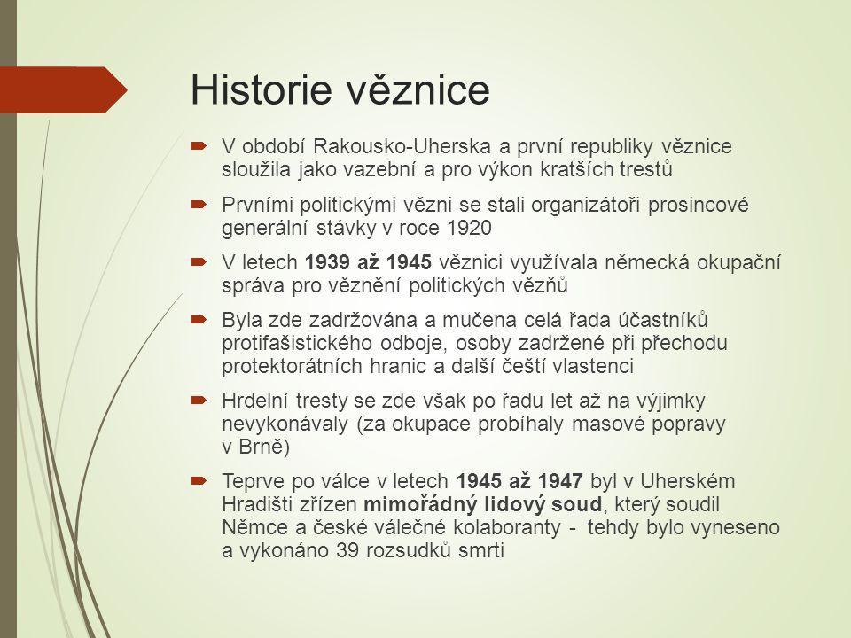 Historie věznice  V období Rakousko-Uherska a první republiky věznice sloužila jako vazební a pro výkon kratších trestů  Prvními politickými vězni s