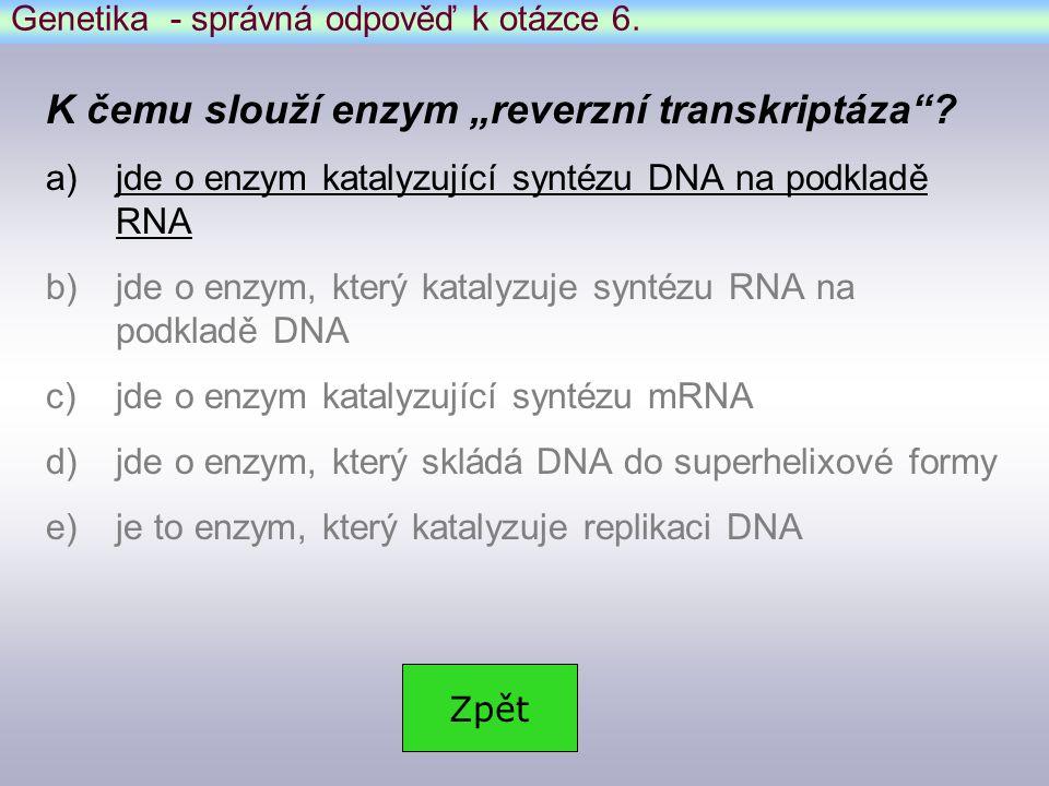"""Genetika - správná odpověď k otázce 6.K čemu slouží enzym """"reverzní transkriptáza ."""