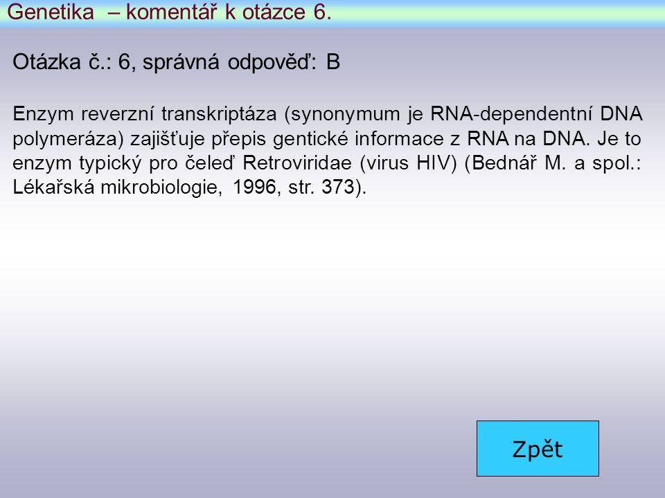 Genetika – komentář k otázce 6.