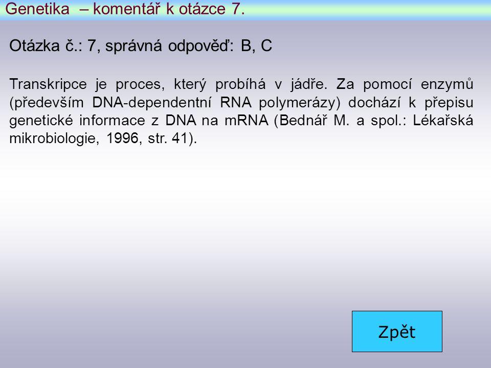 Genetika – komentář k otázce 7.