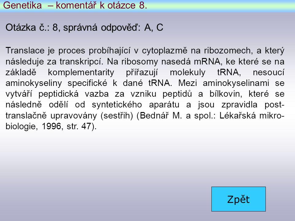 Genetika – komentář k otázce 8.