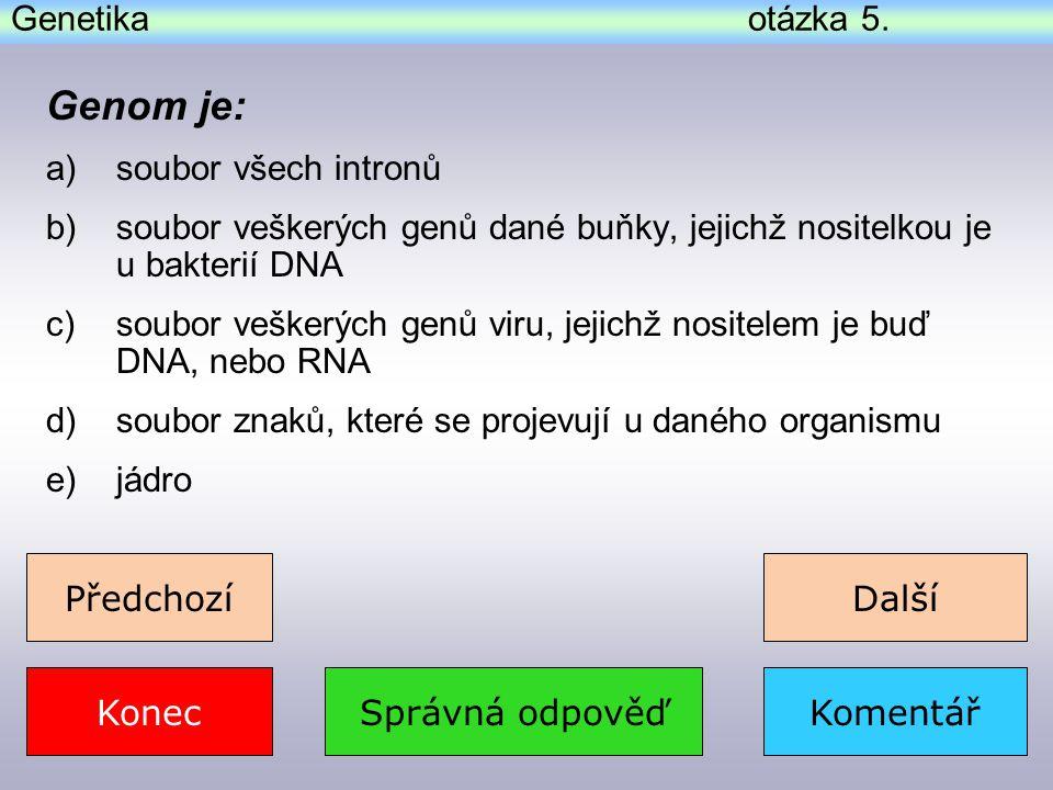 Genetika - správná odpověď k otázce 7.