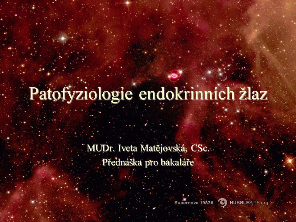 Patofyziologie endokrinních žlaz MUDr. Iveta Matějovská, CSc. Přednáška pro bakaláře